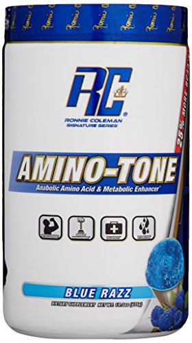Ronnie Coleman Signature Series Amino-Tone, Stim-Free Fat Loss Support Complex and Anabolic Amino-Acid, Blue Raspberry, 435 Gram