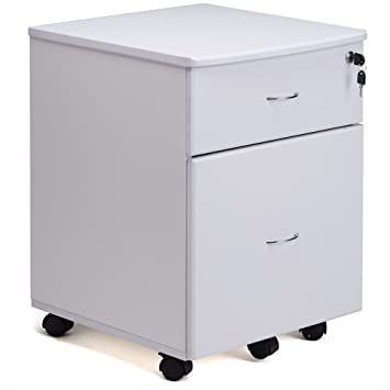 RayGar blanco archivador Pedestal unidad con ruedas y 2 cajones para la oficina en casa - nuevo: Amazon.es: Oficina y papelería