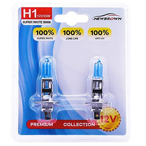 Halogen Blue Bulb - H1 Halogen Headlight Bulb high beam with Super White Light P14.5S 12V/55W 5000K, 2 Pack, 1 Yr Warranty