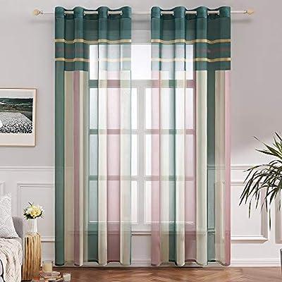 MIULEE Cortina Bordada Translucida de Dormitorio Moderno Visillo Rayado Paneles con Ojales Plateados para Ventana Salón Comedor Sala de Estar Cocina