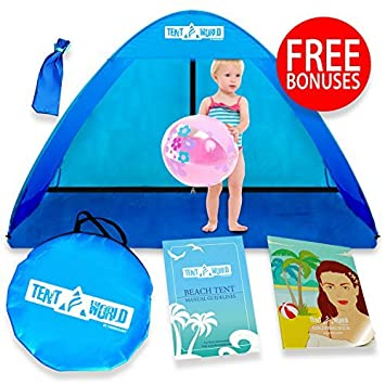 Baby Beach Pop Up Sun Shade Tent with UV Protection, Travel On The Go Sunshade Shelter Cabana Canopy for Infant Babies Toddler Boys Girls. Portable Light Kids Outdoor Camping Hiking Fishing Gear