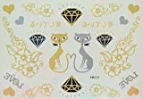 GGSELL Love couple cats, diamond, flowers and love Golden and Silver glitter temporary tattoos by GGSELL
