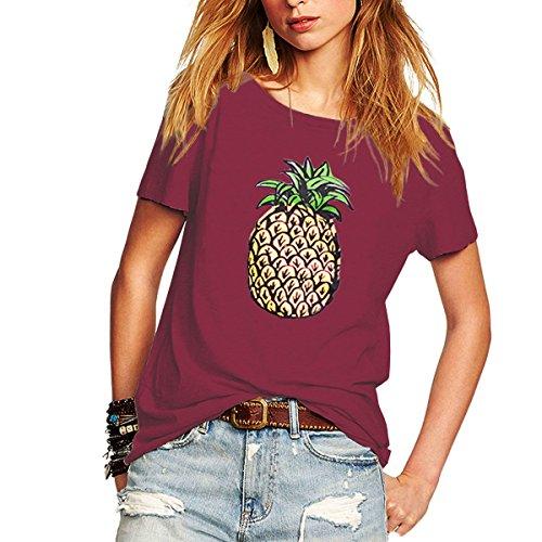Womtop Woman T Shirt Short Sleeve Pineapple Printed Juniors T Shirt Lady Blouse Tops