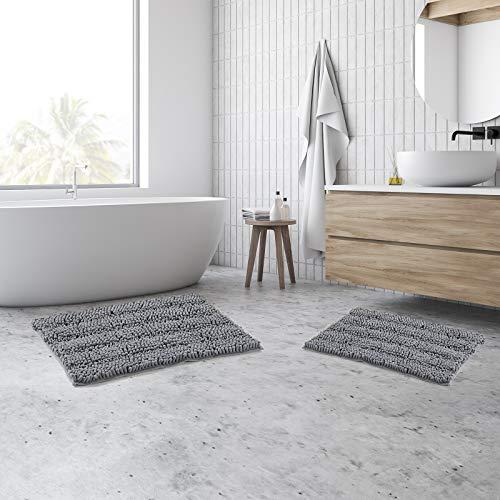 "HALLYONA 20×32"" & 17×24"" Bathroom Rugs Set, 2pcs Washable Non-Slip Striped Pattern Bath Rugs for Bathroom, Indoor Soft…"