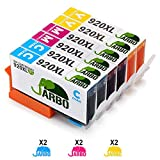 JARBO Replaced for HP 920XL 920 Colour Ink Cartridges High Yield Compatible with HP Officejet 6500 6500A 6000 7000 7500 7500A (2 Cyan,2 Magenta,2 Yellow)