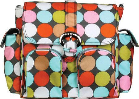 Duty Spa (Kalencom Matte Coated Double Duty Diaper Backpack (Spa Dots) by)