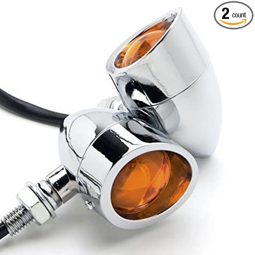 DLLL Universal DC 12V 2pcs Black Heavy Duty Motorcycle Turn Signals Bulb Indicators Blinkers Lights Chrome with Amber Lens Candance®