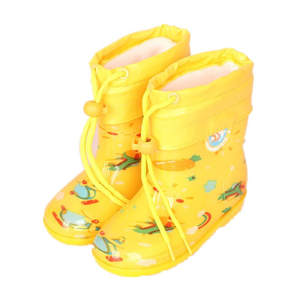 Super color Waterproof Rain Boots Girls /& Boys Toddlers /& Big Kids Solid /& Fun Printed Rainboots Yellow 1 EU 26//9 M