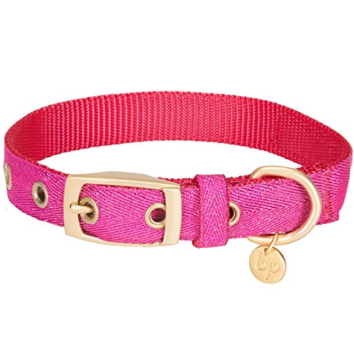 Blueberry Pet 2019 New 6 Colors The Most Coveted Designer Mixed Metallic Thread Dog Collar in Dazzling Rose Pink with Metal Buckle, Neck 17-20.5