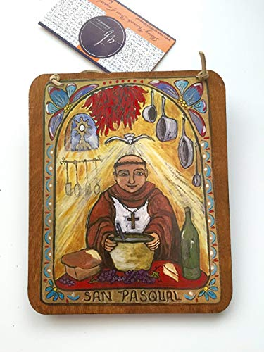 - Retablo San Pasqual Gift for your Cook chef baker Food Gift San Pasquale foodie gift Kitchen saint of chefs 5 x 6 inch yellow blue red icon