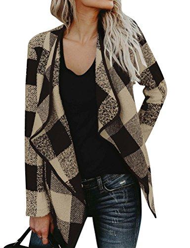 (WLLW Women Open Front Plaid Cardigan Drape Coat Wool Blends Coat Outerwear Wrap Khaki)