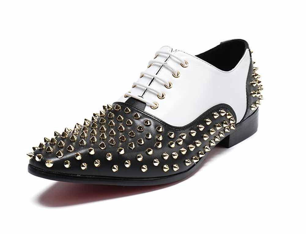 GLSHI Männer Persönlichkeit Rivet Derby Leder Freizeitschuhe Mode Fahren Schuhe Softsoles