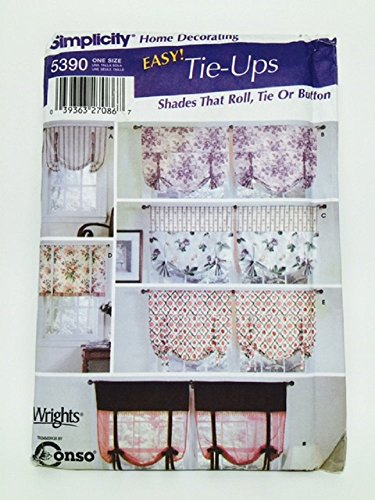 Simplicity 5390 Sewing Pattern Window Shades Roll Tie Button