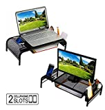 Monitor Stand Riser, Mesh Metal Desktop for Computer/Laptop TV Printer with Pull Out Drawer. New Design with Two Cellphone Slots. Two Compartments for Storage Organizer. Black by House Ur Home