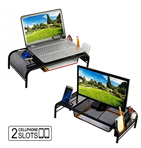 Monitor Stand Riser, Mesh Metal Desktop for Computer/Laptop TV Printer with Pull Out Drawer. New Design with Two Cellphone Slots. Two Compartments for Storage Organizer [Upgraded] by House Ur Home