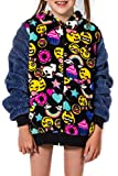 Girl's Peace Love & Fashion Emoji Hoodie - Black (Small)