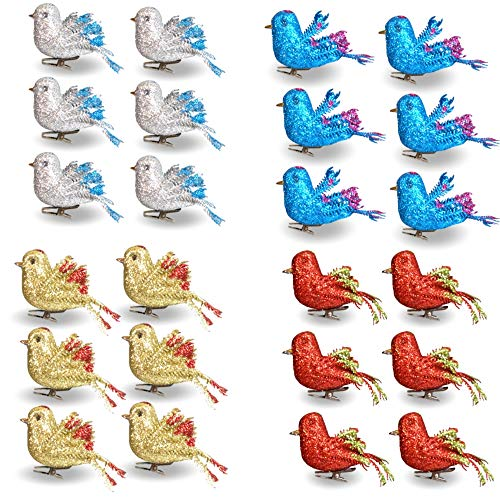 (BANBERRY DESIGNS Christmas Bird Ornaments Decorations - Set of 24 Clip-On Birds - Package Includes 6 Red, 6 Blue, 6 Gold and 6 Silver Birds)