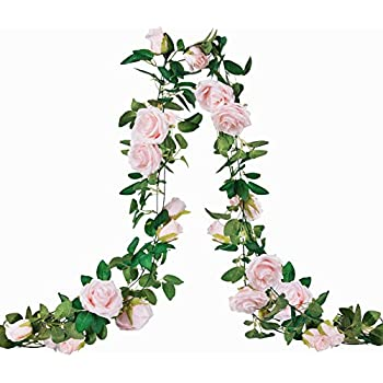Meiliy 2PCS Artificial Rose Vine Garland Hanging Roses Silk Flower Garland for Wedding Arch Decorations Baby Shower Party Backdrop, Blush Pink