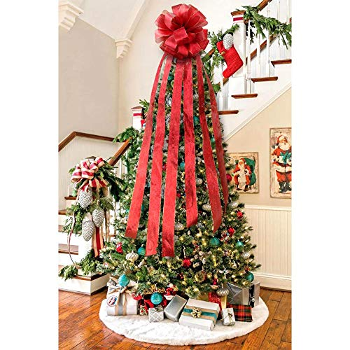 Wmbetter Christmas Tree Topper Red Bow Large Christmas Tree Bow