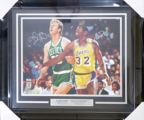(Larry Bird & Magic Johnson Autographed Framed 16x20 Photo - Beckett COA )