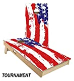 Painted American Flag Cornhole Board Set