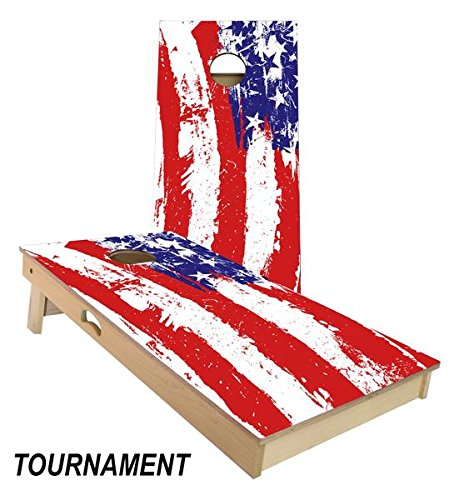 Slick Woody's Painted American Flag 4' by 2' Tournament Size Cornhole Boards Set