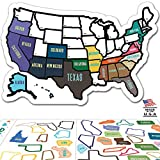 RV State Sticker Travel Map - 13'' x 17'' - USA States Visited Decal - United States Non Magnet Road Trip Window Stickers - Trailer Supplies & Accessories - Exterior or Interior Motorhome Wall Decals