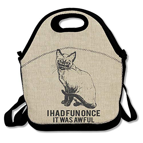 Funny Cute Cat Dressed As Rambo With Gun Riding A Glowing Red Eyes Fire Breathing Unicorn Lunch Bag Lunch Tote Lunch Box Handbag For Kids And -