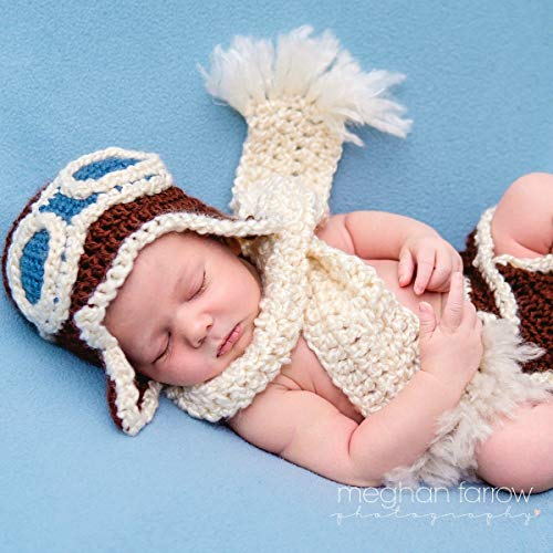 Baby Aviator Outfit for Newborn Photo Shoot Shower Gift ()