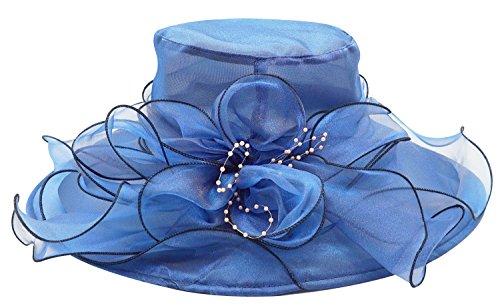 Bellady Women Floral Wide Brim Tea Party Wedding Hats Church Kentucky Derby Dress Cap,Blue