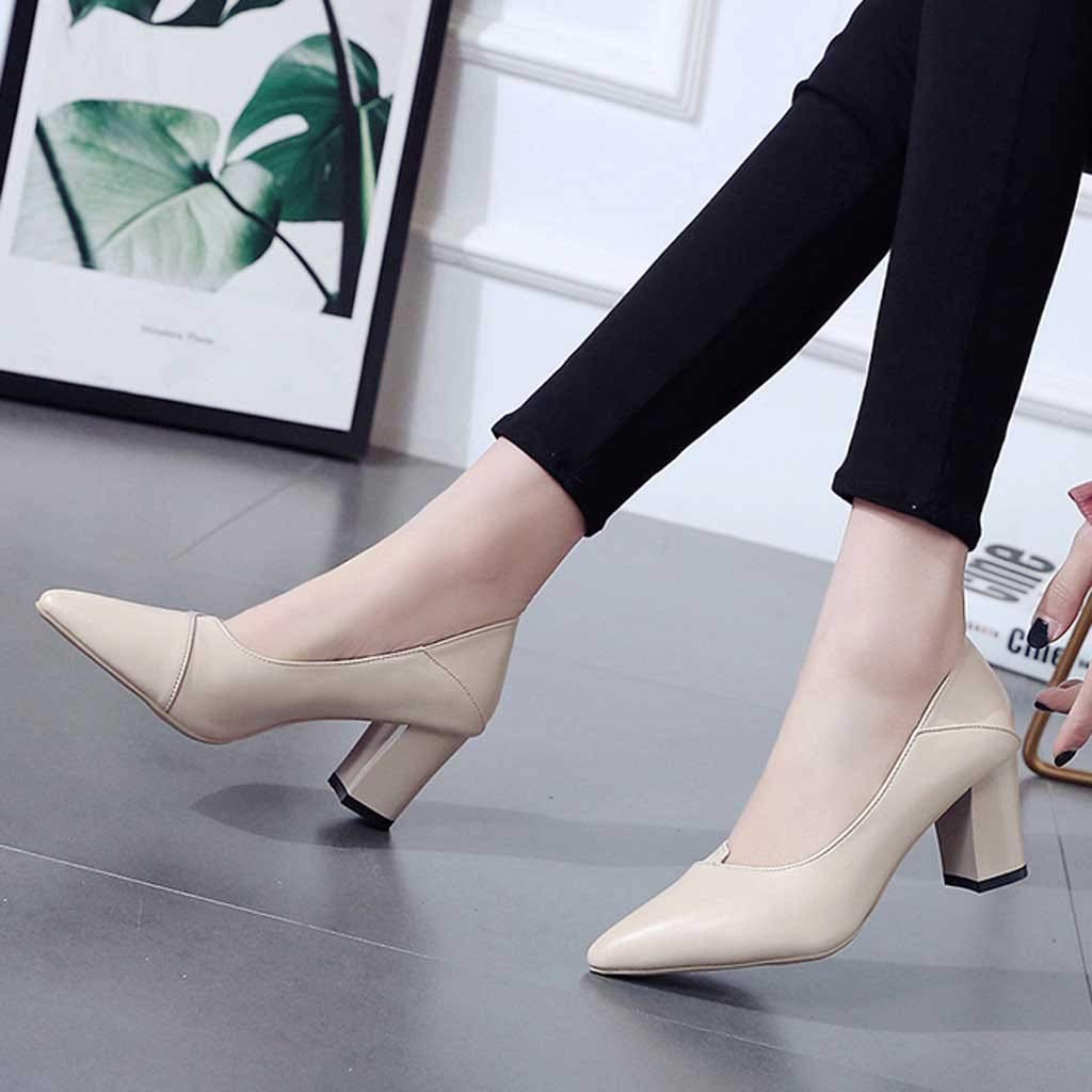 Lurryly Fashion Ladies Thick with High Heel Pointed Shoes Single Shoes Business Shoes