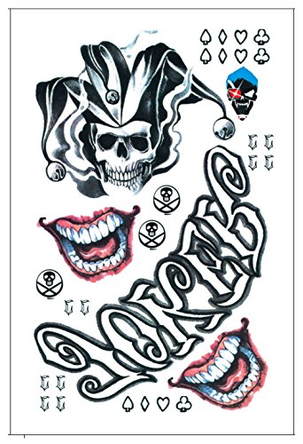 94dc74127 DaLin Temporary Tattoos for Costume Accessories and Parties 3 Large Sheets ( Joker Collection)