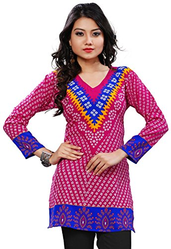 Womens India Tunic Top Kurti Printed Blouse Indian Clothing – L…Bust 38 inches, Pink