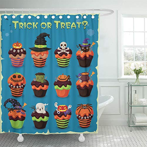 Semtomn Shower Curtain Costume Candy Vintage Halloween Cupcake Cake Ghost Party Retro Shower Curtains Sets with 12 Hooks 72 x 78 Inches Waterproof Polyester Fabric ()