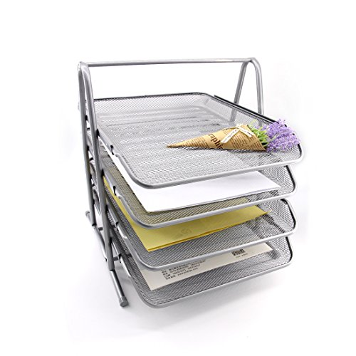 HAODE Fashion 4 Tiers Steel Mesh Document Tray, File Basket, Office Desk Organizer, Letter Tray Organizer, Desktop Document Paper File Organizer, Silver by HAODE Fashion