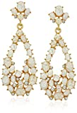Kenneth Jay Lane Gold, Crystal and White Opal Cluster Post Teardrop Earring
