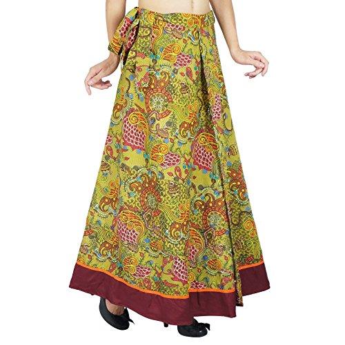 Una sola capa de vestido impreso algodón Wrap Phagun Tamaño falda de largo Sari sarong Verde y ciruela