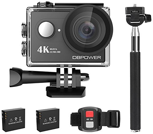 DBPOWER 4K Action Camera 12MP Ultra HD Waterproof Sports Cam with Built-in WiFi 170 Degree Wide Angle Lens 2 Inch...