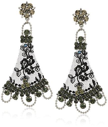 Badgley Mischka Black Lace Drop Earrings