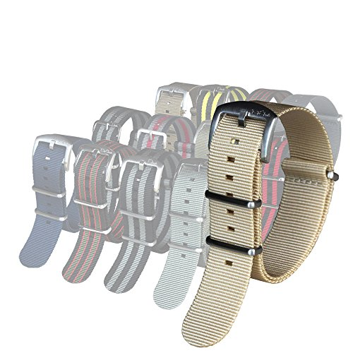 BluShark - The Original Premium Nylon Watch Strap - 18mm Cream ()