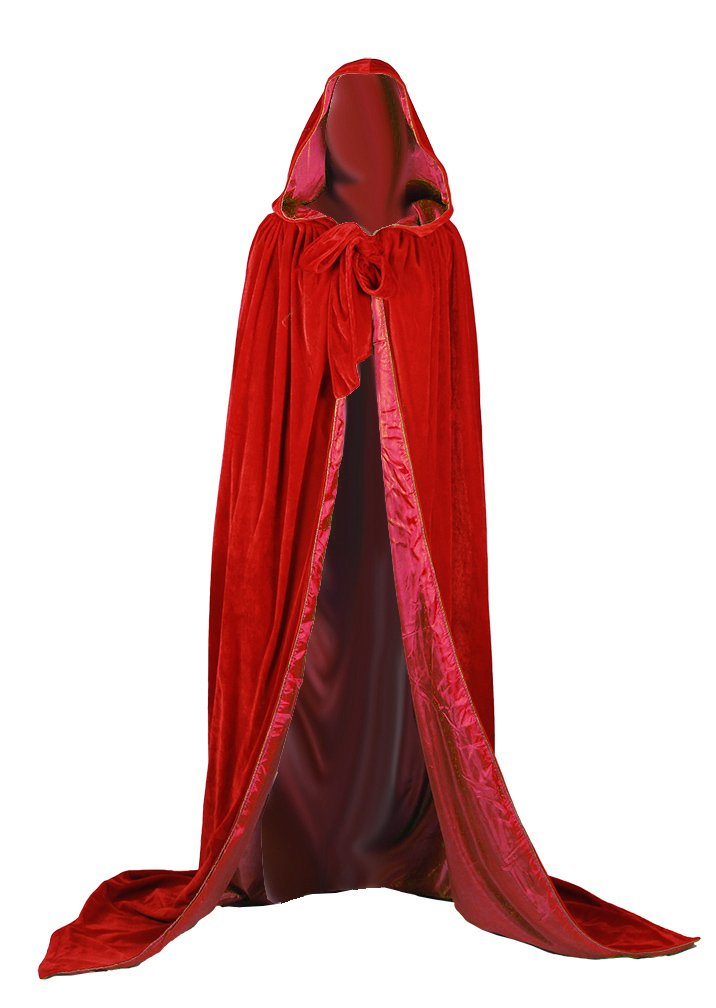 ANGELWARDROBE Wedding Cape Halloween Hood Cloak REDRED 1XL