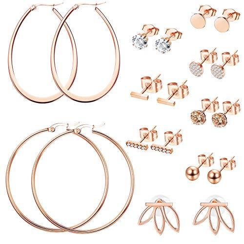 LOYALLOOK 10 Pairs Rose Gold CZ Bar Stud Earrings Set for Women Stainless Steel Earring Girls Lotus Flower Ear Jacket Stud Hoop Earring Women Cartilage Earring Set