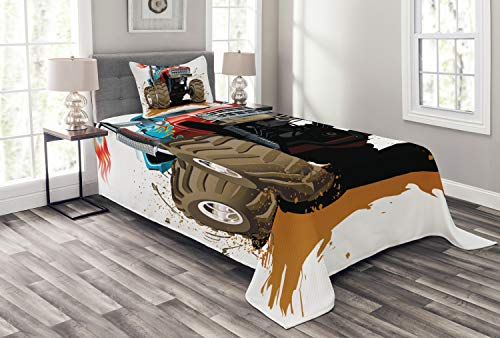 Lunarable Man Cave Bedspread Set Twin Size, The Monster Truck Splashing Mud Graphic Design Flame Machinery Engine with Wheels, Decorative Quilted 2 Piece Coverlet Set with Pillow Sham, Multicolor