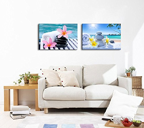 wall26 - Canvas Prints Wall Art - Spa Treatment on Tropical Beach | Modern Wall Decor/Home Decoration Stretched Gallery Canvas Wrap Giclee Print & Ready to Hang - 16''x24'' x 2 Panels by wall26 (Image #2)