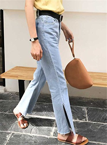 chiaro Donna Autunno Jeans Cracking JOTHIN cut Taschino Flalso alta Blu strappati Vita boot Larghi Bordi Calzoni Pantaloni hip 2017 Eleganti hop 5qE4Z