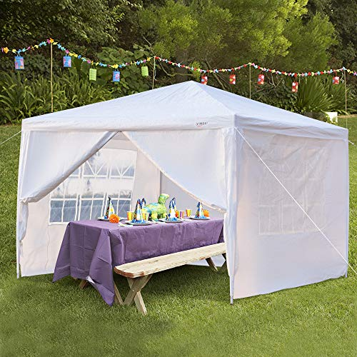 VINGLI 10 x10 x8.7 ft Heighten Canopy Party Wedding Tent w 4pcs Removable Sidewalls, Outdoor Patio Event Pavilion Gazebo Shelter BBQ Cater Tent, Bonus Free Durable Carrying Bag