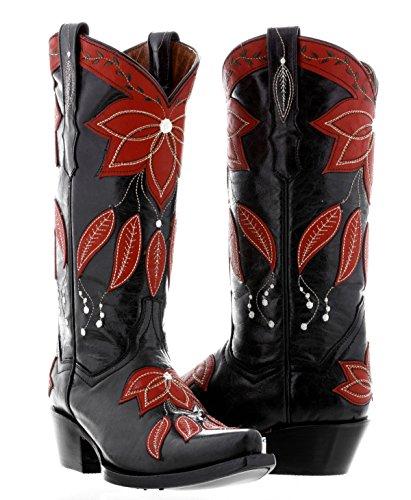 Cowboy Profesjonelle Kvinners Sommer Overlegg Lær Cowboy Boots Klipp Tå Svart