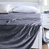 Znzbzt Flannel blanket quilt single dorm students extra thick blankets winter coral fleece bed pure color blanket,200cmx230cm, gray 500g thick