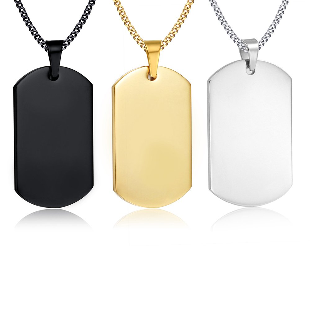 VNOX Personalized Custom-3 Color Set Stainless Steel Dog Tag Military Army Pendant Necklace for Men Women,Silver,Horizontal by VNOX (Image #1)