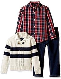 Baby Boys' Zip Sweater, Long Sleeve Shirt, and Denim Pant Set